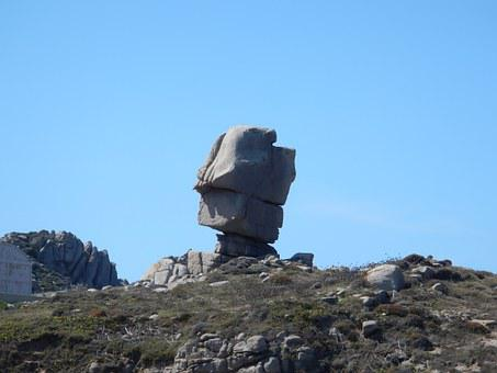 Municca Island, Sardinia, Granite, Leaning Rock