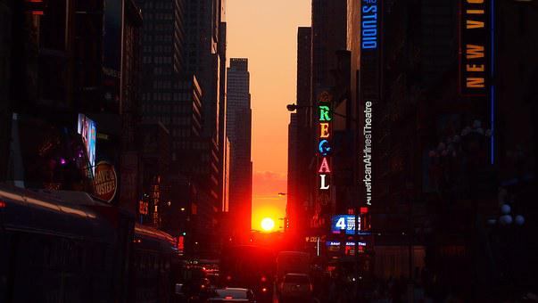 New York, Manhattanhenge, Sun