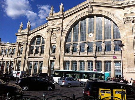 Station, Train, Gare Du Nord, Platform, Nord, Paris