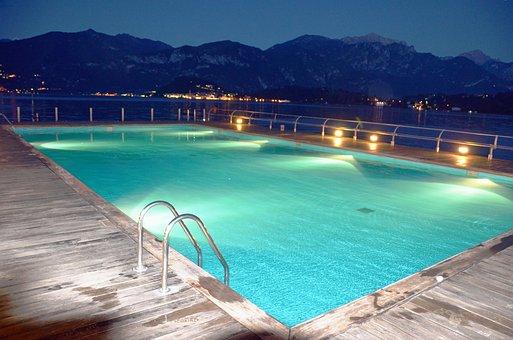 Swimming Pool, Pool, Water, Lights, Reflection, Night