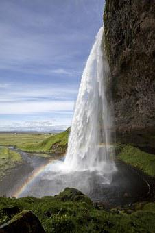 Seljalandsfoss, Waterfall, Iceland, Rainbow
