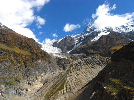 India, Glacier, Mountains, Valley, Ravine, Gorge, Sky