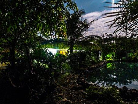 Full Moon Night, Pond, Mysterisch, House, Night