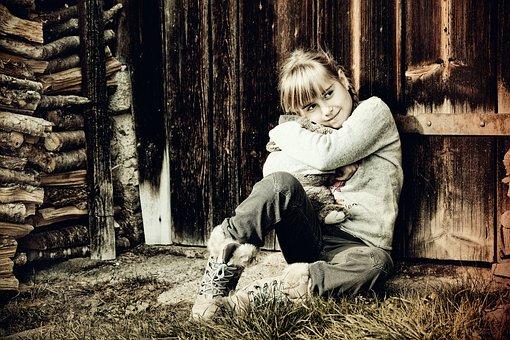 Child, Girl, Teddy Bear, Loving, Nature, Old Photo