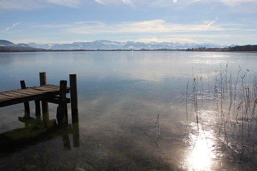 Lake, Ice, Waters, Jetty, Pfäffikon