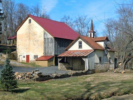 Pennsylvania, Farm, Barn, House, Shed, Buildings, Field