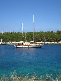 Boat, Sailing, Colorful, Fiskardo, Water, Greece