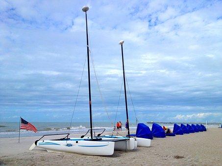 Boat, Beach, Florida, Usa, Vacation, Sand, Flag, Sky