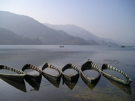 Nepal, Boats, Lake, Pokhara