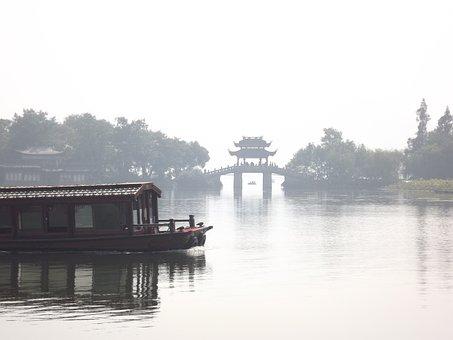 China, Boot, Bridge, Lake, Chinese, Day, Quiet