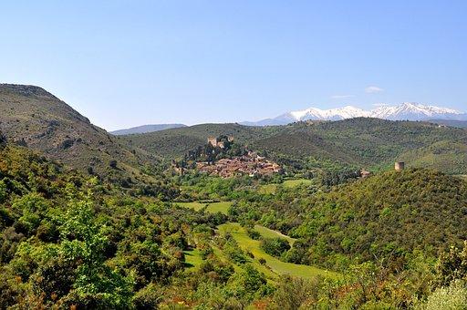 Village, Mountains, France, Pyrenees, Castelnou, French