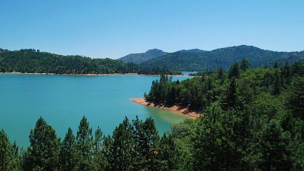 Lake, Shasta, California, Water, Nature