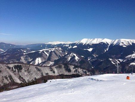 Viewpoint, Blue, Sky, Mountains, Snow, Peaks, Snowclad