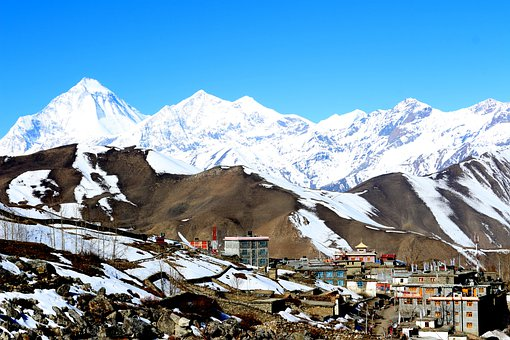 Village, Mountains, Snow, Scenic, Scenery, Outdoor