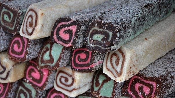 Coconut Roll, Sweets, Food