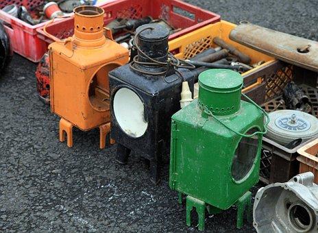 Lamp, Train End Lantern, Nostalgic, Old Lanterns, Color