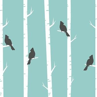 Birds, Trees, Birch, Birch Trees, Perched, Blue, Art