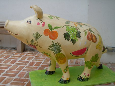 Pig, Painted, Artwork, Colorful, Colourful, Statue