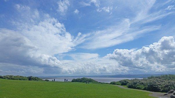 Sky, Wirral, Grass, Blue Sky, Clouds, Vista