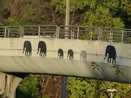 Bridge, Elephant, Painting, Drawing, Black, Animals