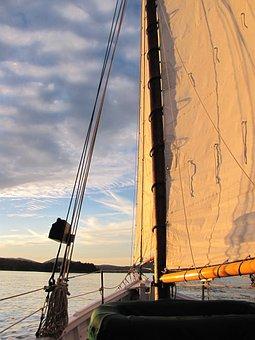Sailing, Sunset, Maine