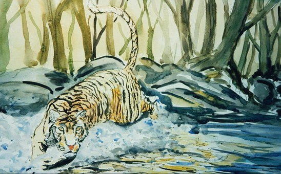 Tigers, Cat, Mammal, Watercolour, Painting