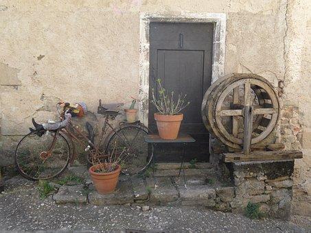 Village, Medieval, Artist, Bike