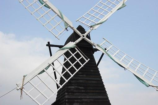 Windmill, Restored, Mill, Day, Outdoors, Spring