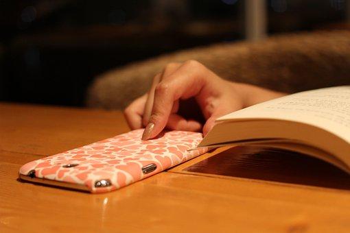 Book, Hand, Cellphone, Case