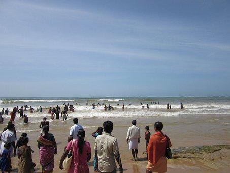 Bay Of Bengal, Hindu, India, People, Crowd, Ocean