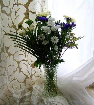 Flower Bouquet, White, Curtain