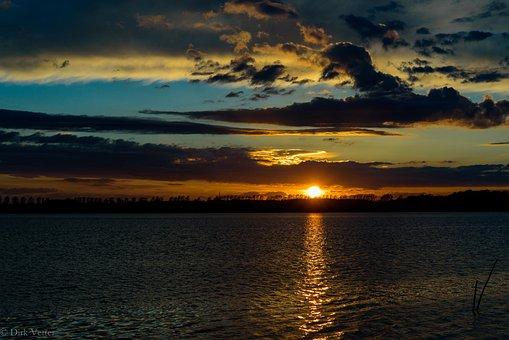 Noor, Eckernförde, Water, Baltic Sea, Sunset, Clouds