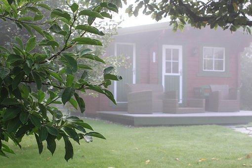 Autumn, Fog, Garden, Dew, Gazebo