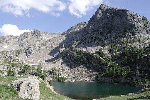 Mercantour, Lake Detrecolpas, Mountain, Hiking