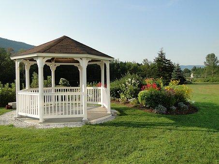 Gazebo, Lawn, Gardens, Summer, Landscape, Scenic