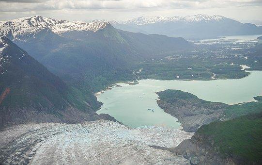 Alaska, Mendenhall Glacier, Mountains, Snow, Scenic