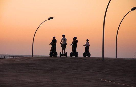 Segway, People, Ride, Sunset, Group, Fun