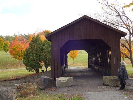 Ticonderoga, New York, Park, Walk, Lady, Bridge, Autumn
