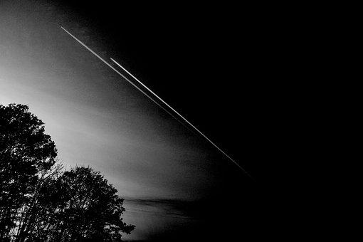Black, Weis, Aircraft, Forest, Art, Abstract, Sky