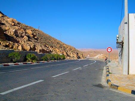 Road, Bush, Hill, Sky, Blue, Tunisia
