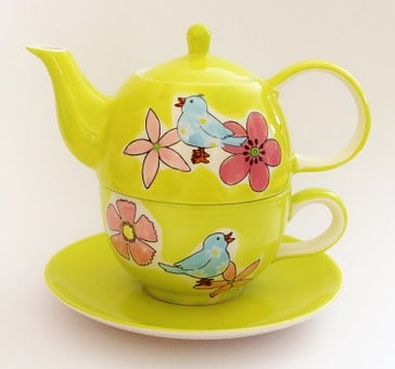 Teapot, Winter, Cup, Tea, Green, Blossom, Bloom
