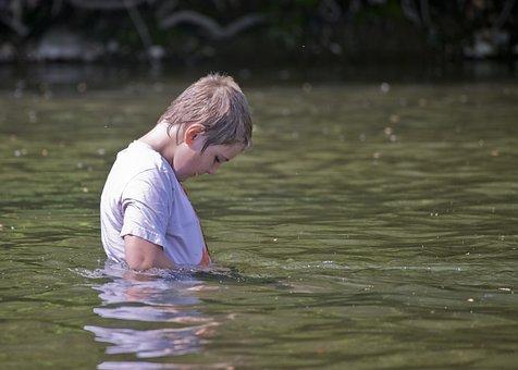 Boy, Kid, Child, Childhood, Water, River, Swimming
