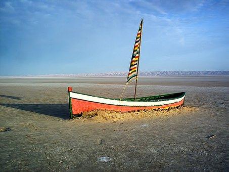 Boat, Salt Lake, Dry, Tunisia, The Republic Of Tunisia