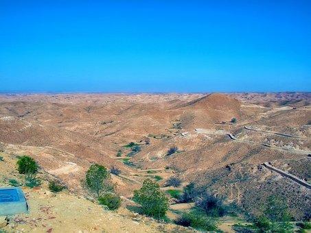 The Hills, Desert, Sky, Blue, Tunisia