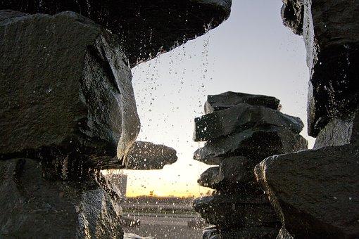 Fountain, Rock, Duisburg, Sky, Stones, Water, Drip