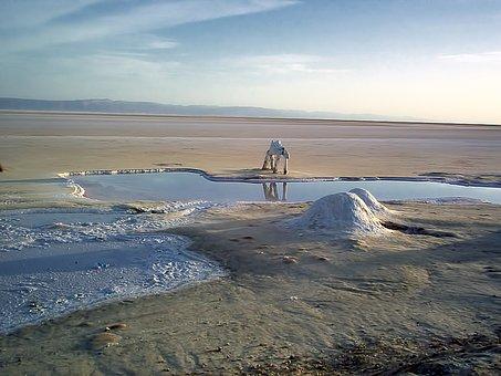 Salt Lake, Dry, Statue, Tunisia