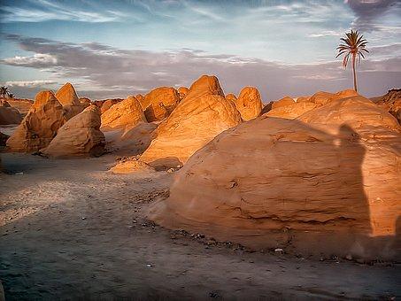 Stones, Stone, Formations, Morning, Sun, Tunisia