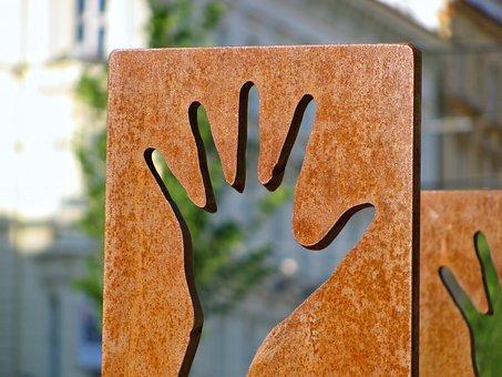 Hand, Finder, Street Art, Sculpture, Object, Art
