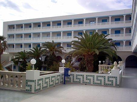 Hotel, Palm Trees, Hammamet, Tunisia