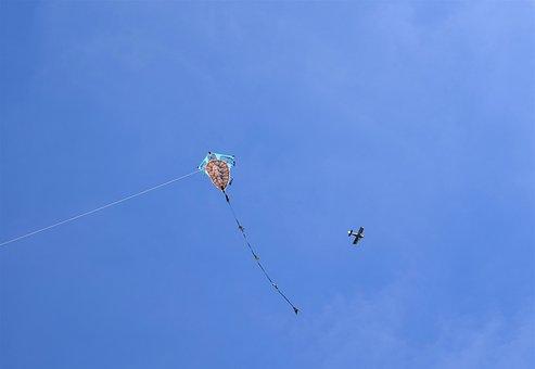 Kite, Plane, Blue, Sky, Air, Fly, Fun, Airplane, Flight